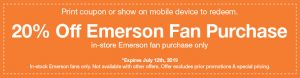 Emerson Ceiling Fan Coupon