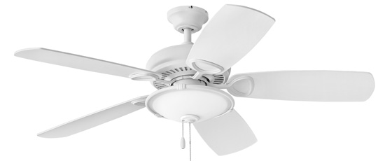 Hinkley 901352FCW-LIA Marquis Illuminated 52 inch Chalk White with Chalk White/Weathered Wood Blades Ceiling Fan in Yes, Regency Series