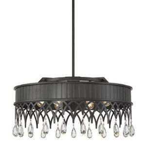 Lenoir Collection 6-Light Pendant in Olde Gray with Highly-Faceted Crystal Drop Accents Savoy House 7-8706-6-163