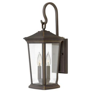 Bromley Collection 2-Light Wall Mount in Oil Rubbed Bronze with Clear Glass Panels 2364OZ