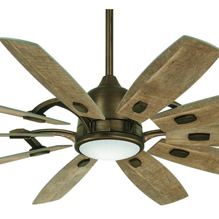 "Barn Collection 65"" 10-Blade Ceiling Fan in Barnwood with LED Light Minka Aire F864L-HBZ"