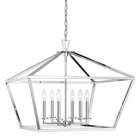 Townsend Collection 6-Light Foyer Lantern in Polished Nickel with Open Geometric Frame Savoy House 3-325-6-109
