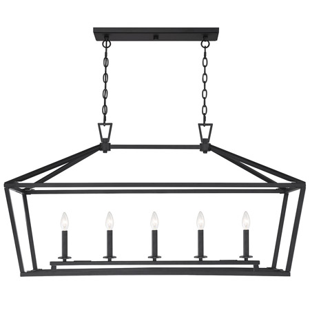 Townsend Collection 5-Light Linear Chandelier in Matte Black Savoy House 1-324-5-89