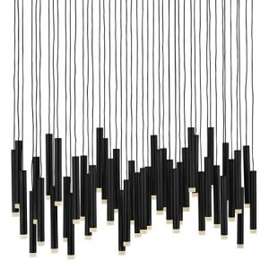 Harmony Collection 45-Light LED Chandelier in Black with Wind Chime Style Black Tubes Fredrick Ramond FR49909BLK
