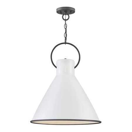 Winnie Collection 1-Light Pendant in Polished White with Oversized Black Loop Hinkley 3555PT $399.00