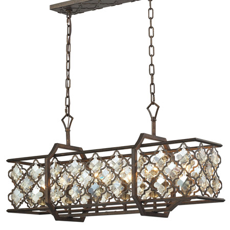 Armand Collection 6-Light Chandelier in Weathered Bronze with Laser Cut Amber Teak Crystals Elk Lighting 31098/6