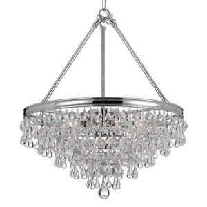 Calypso Collection 6-Light Chandelier in Polished Chrome with Smooth Shaped Crystal Drops and Balls Crystorama 136-CH