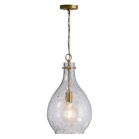 Independent Collection 1-Light Pendant in Brass Patina with Clear Seedy Glass Shade Capital Lighting 333813PA-472