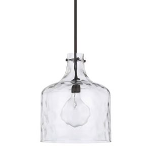 Independent Collection 1-Light Pendant in Bronze with Clear Water Glass Shade Capital Lighting 325717BZ