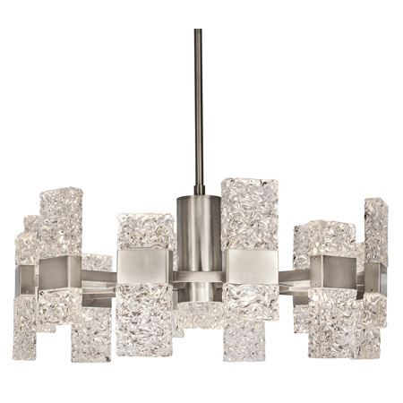 Oslo Collection LED Chandelier in Platinum with Ice-Like Hand-Crafted Glass Kuzco CH 9528-PT