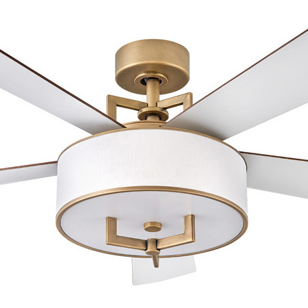"""Hampton Collection 56"""" 5-Blade Ceiling Fan in Heritage Brass with Off-White Linen Drum Shade Hinkley 903056FHB-LID"""