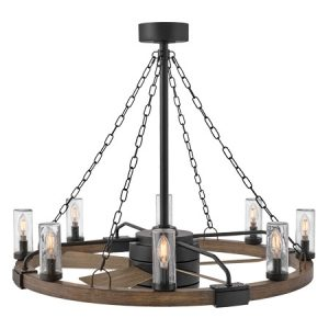 """Sawyer Collection 8-Light Chandelier with 28"""" Ceiling Fan in Matte Black with Driftwood Frame and Blades Hinkley 902928FMB-LWD"""