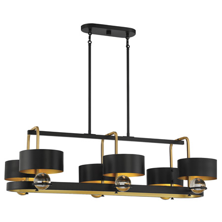 Chambord Collection 6-Light Chandelier in Vintage Black with Warm Brass Accents Lighting One V6-L1-2924-6-51