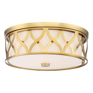 Minka-Lavery Collection LED Flush Mount in Liberty Gold with Etched White Glass Shade Minka-Lavery 840-249-L