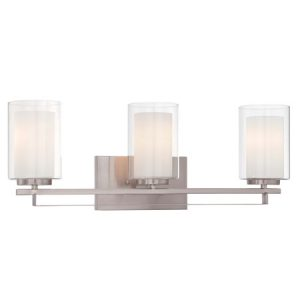 3-Light Bath Vanity in Brushed Nickel with Etched White Inner / Clear Outer Glass Shades Minka-Lavery 6103-84