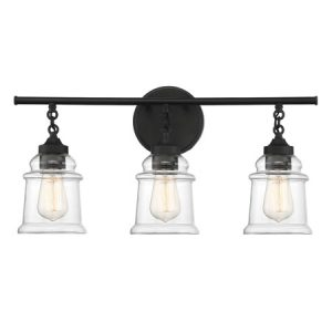 Fuller Collection 3-Light Bath Vanity in Matte Black with Clear Molded Glass Shades Lighting One V6-L8-8055-3-BK