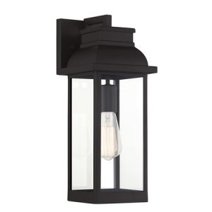 Drexel Collection 1-Light Wall Sconce in English Bronze with Clear Glass Panels Lighting One V6-L5-2934-13