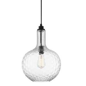 Kantor Collection 1-Light Pendant in Matte Black with Textured Clear Glass Shade Lighting One V6-L7-2930-1-89