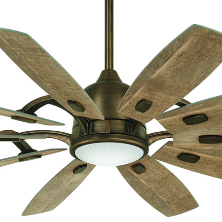 """Barn Collection 65"""" 10-Blade Ceiling Fan in Barnwood with Integrated Clear Glass Lens LED Light Minka Aire F864L-HBZ"""