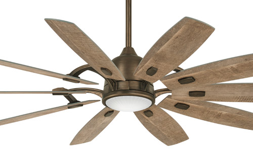 """Barn Collection 65"""" 10-Blade Ceiling Fan in Barnwood with Clear Ribbed Glass LED Light Kit Minka F864L-HBZ"""