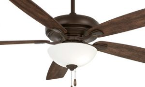 """Watt II Collection 60"""" 5-Blade Ceiling Fan in Oil Rubbed Bronze with Rustic Wood Blades and Frosted White Glass LED Light Minka F552L-ORB"""