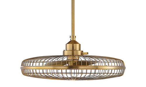 """Wetherby Collection LED Fan D'Lier in Warm Brass with 14"""" Integrated Fan and Classic Cage Frame Savoy 29-FD-122-322"""